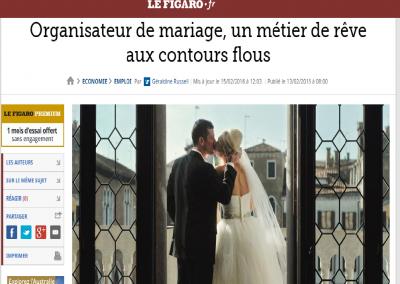 """<a href=""""http://www.lefigaro.fr/emploi/2016/02/13/09005-20160213ARTFIG00017-organisateur-de-mariage-un-metier-de-reve-aux-contours-flous.php"""" target=""""_blank"""">Le Figaro - Février 16 </a>"""